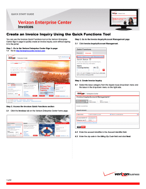 Fillable Online Create Quick Invoice Inquiry Verizon Enterprise - Create quick invoice