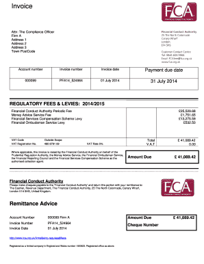 Sample invoice - Financial Conduct Authority