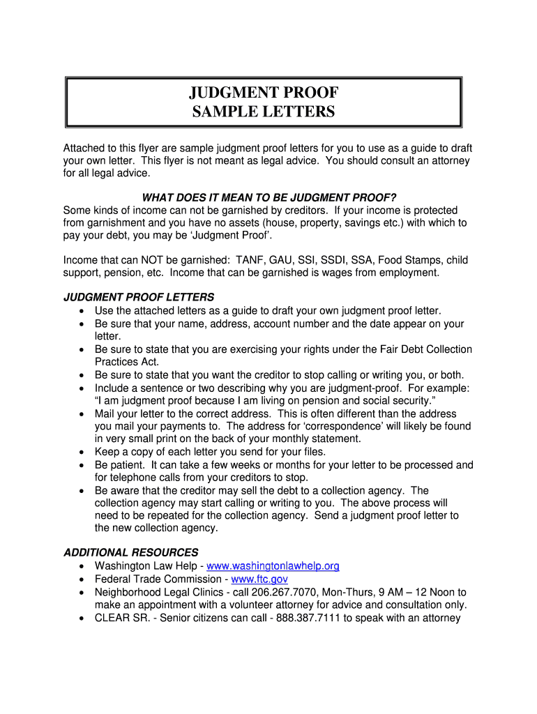 Judgement Proof Letterpdffillercom - Fill Online, Printable