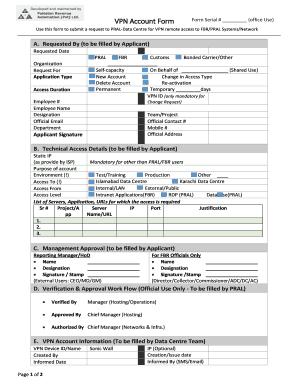 Fillable Online VPN Request Form - Pakistan Revenue Automation Fax ...
