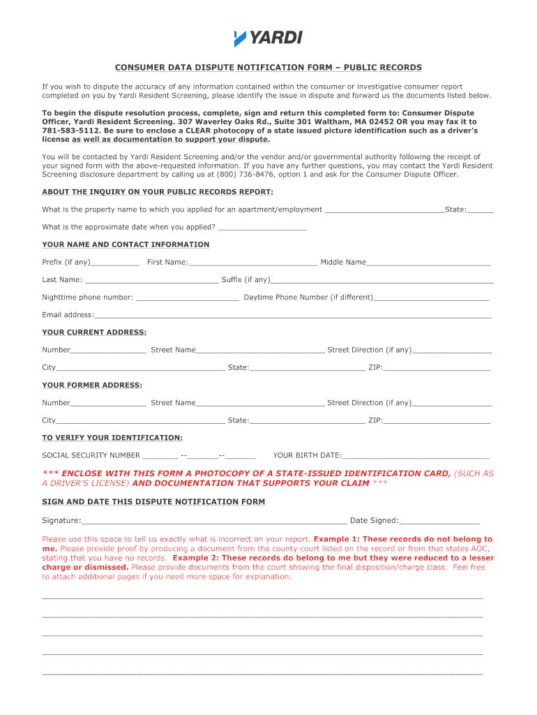 Yardi Dispute Process - Fill Online, Printable, Fillable