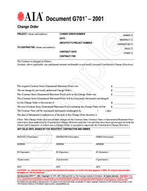 aia change order form Aia G701 - Fill Online, Printable, Fillable, Blank | PDFfiller
