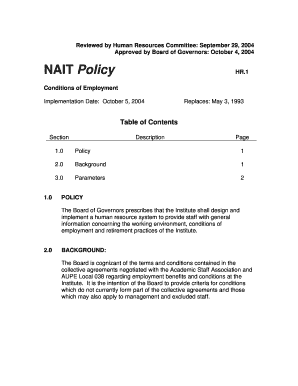 Fillable Online nait 1 - Conditions of Employment.doc. Form to ...