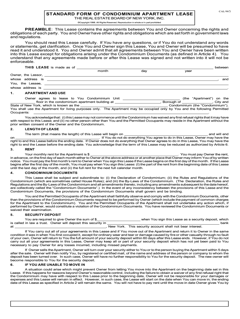 Standard Form Of Condominium Apartment Lease Fill Online Printable Fillable Blank Pdffiller