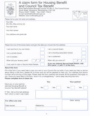 A claim form for Housing Benefit and Council Tax Benefit - North ... - northwarks gov