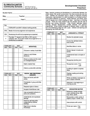 Preschool Teacher Observation Checklist Printable Templates To