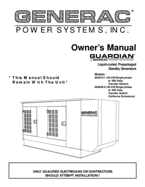 fillable online guardian 40kw liquid cooled standby generator owners rh pdffiller com guardian rv generator service manual guardian 15kw generator owner's manual
