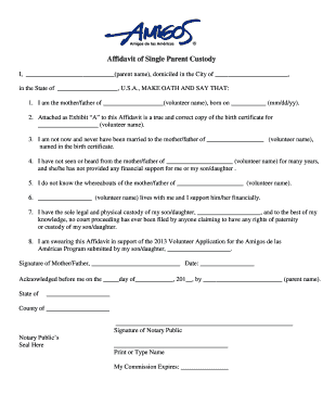 Affidavit of birth by mother forms and templates fillable affidavit of single parent custody amigos de las amricas yadclub Images