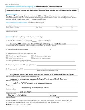 Ancc Preceptorship Documentation Form - Fill Online