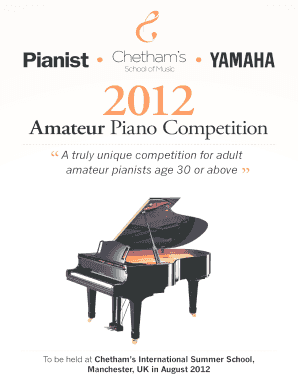 Fillable Online Piano comp entry form indd - Yamaha Fax Email Print