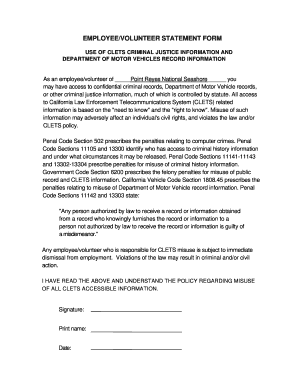 employee statement rate this form - Employee Statement Form