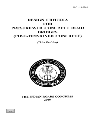 Fillable Online IRC018-2000 DESIGN CRITERIA FOR PRESTRESSED