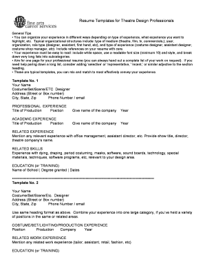 Resume Templates for Theatre Design Professionals