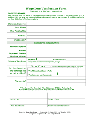 Wage Loss Verification Form - Fill Online, Printable, Fillable ...