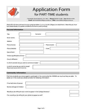 application form of a colleges