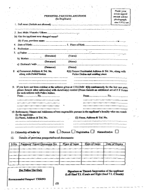Fillable Online Personal Particulars Form - Embassy of India ...