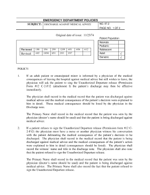 SUBJECT: DISCHARGE AGAINST MEDICAL ADVICE