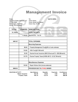 Sample monthly invoice to owner - Signature Realty Services