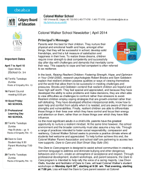 School Newsletter Template Word - Calgary Board of Education