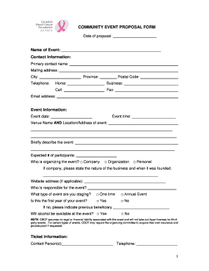 Community event proposal form - Canadian Breast Cancer Foundation