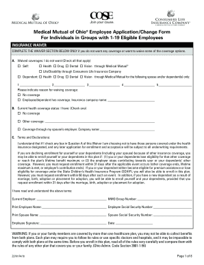 fillable online medical mutual of ohio employee application change