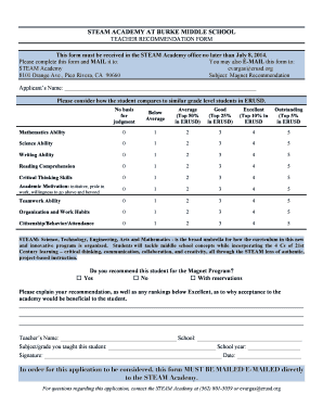 recommendation form for middle school