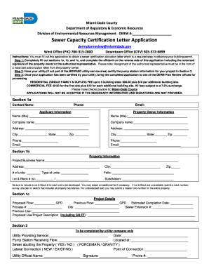 Fillable Online Miamidade Sewer Capacity Certification Letter