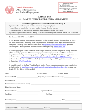 SUMMER 2014 ON-CAMPUS FEDERAL WORK STUDY APPLICATION - career cornell