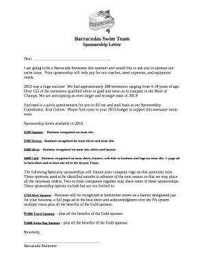 barracudas swim team sponsorship letter saline county swim