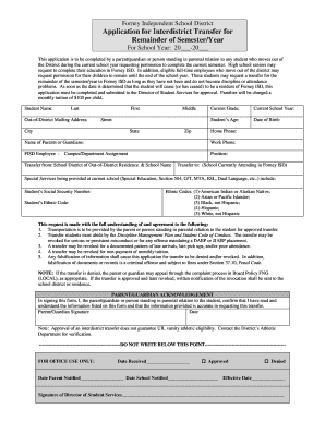 Application for Interdistrict Transfer for Remainder of ... - Forney ISD