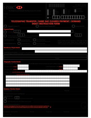 Hsbc Banking Instruction Via Telex Or Facsimile - Fill
