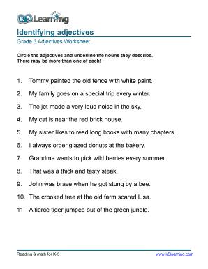 Adjectives Worksheets For Grade 3 Fill Online Printable Fillable Blank Pdffiller