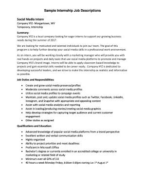 Fillable Online Sample Internship Job Descriptions Social