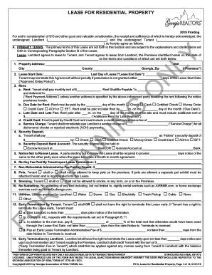 Fillable Free Georgia Rental Lease Agreement Form Edit