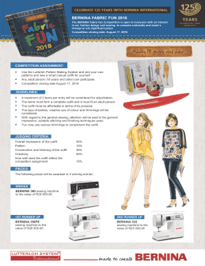 Fillable Online Fabric Fun Bernina South Africa Elected The National Sew Fax Email Print Pdffiller