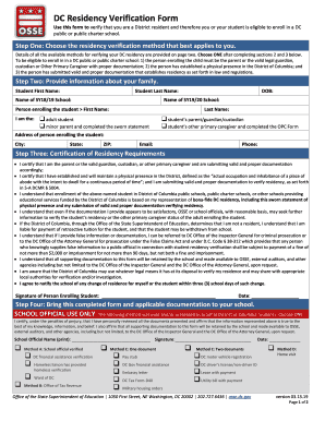 Fillable Online Use This Form To Verify That You Are A District Resident And Therefore You Or Your Student Is Eligible To Enroll In A Dc Fax Email Print Pdffiller