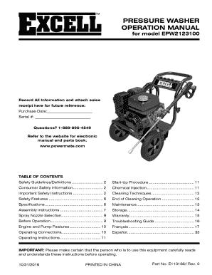 Fillable Online for model EPW2123100 - Power Equipment