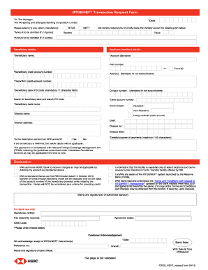 2019 HSBC RTGS/NEFT Transaction Request Form Fill Online