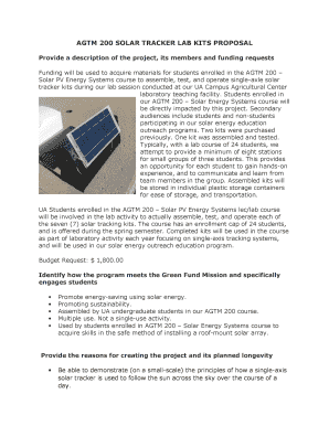 Submit solar tracker project kit PDF Forms and Document
