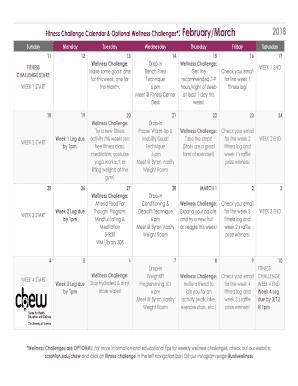 Printable workout log calendar - Edit, Fill Out & Download