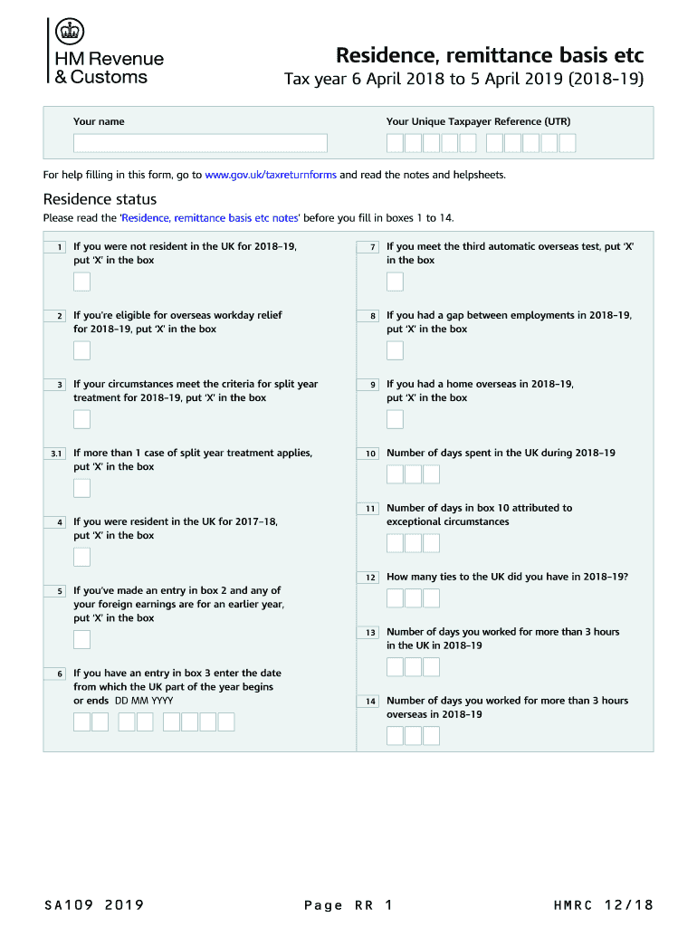 2019 Form Uk Hmrc Sa109 Fill Online Printable Fillable Blank Pdffiller