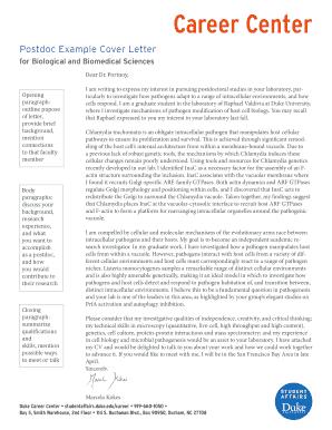 Fillable Online Studentaffairs Duke Postdoc Example Cover Letter Fax Email Print Pdffiller
