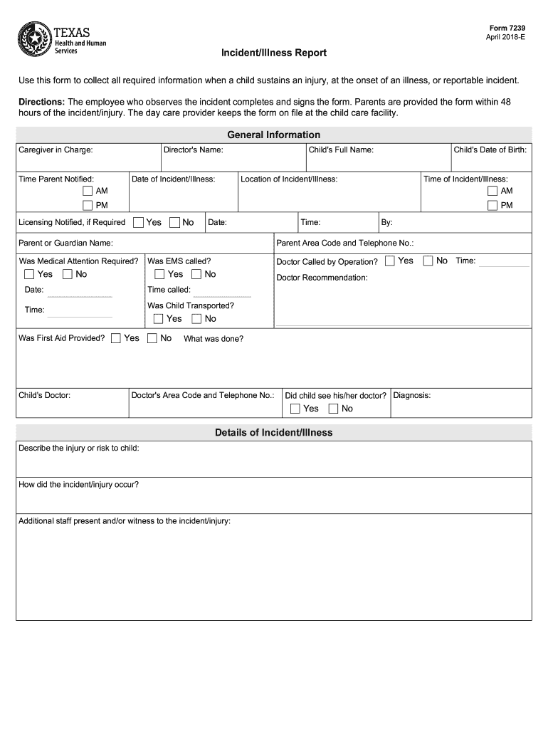 2018-2020 Form TX DFPS 7239 Fill Online, Printable ...