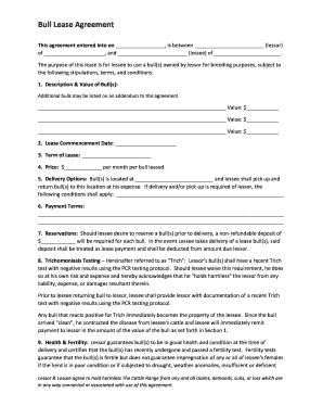 Fillable Online Bull Lease Agreement Cattle Range Fax