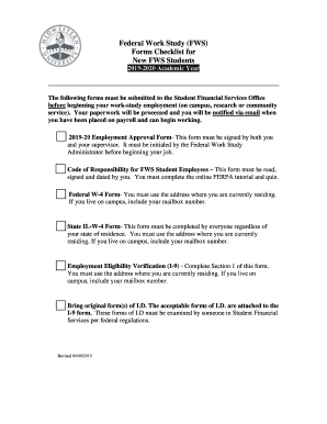 Fillable Online Federal Work-Study Forms Check List Fax