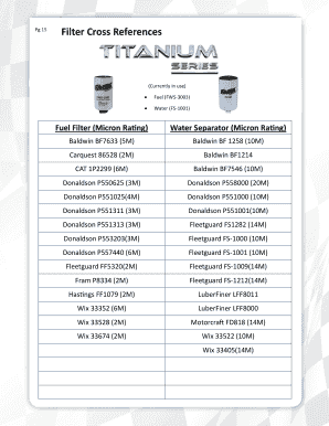 Fillable Oil Filter Cross Reference Chart Samples to