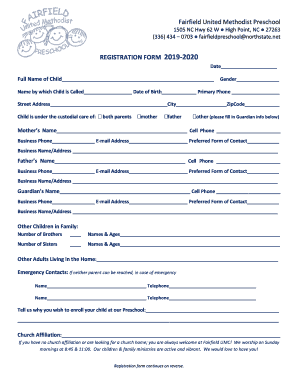 photograph about Printable Church Nursery Forms identified as 2019 Fairfield United Methodist Church Registration Type