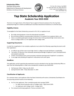 Fillable Online Yap State Scholarship Application for ...