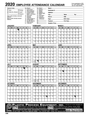 Attendance Calendar 2022.Attendance Sheet Printable 2020 Employee Attendance Calendar Fill Online Printable Fillable Blank Pdffiller