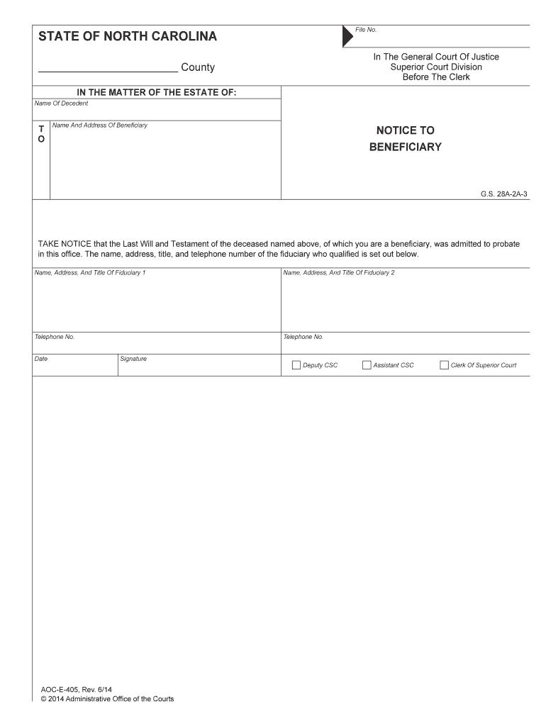 Nc Aoc E 405 2014 Complete Legal Document Online Us Legal Forms